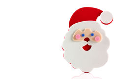 Father Christmas cartoon face. On a white background with copy space royalty free stock image