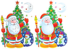 Father Christmas clip-art. Colorful illustration of Father Christmas with a sack of presents and decorated tree Stock Images