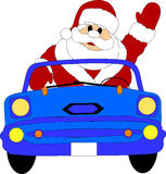 Father Christmas driving car Royalty Free Stock Images