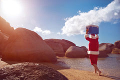 Father Christmas enjoying the sunshine stock images