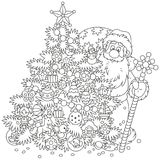 Christmas tree and Santa Claus with gifts vector illustration