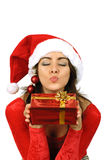 Father Christmas kissing Royalty Free Stock Photography