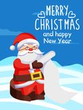 Father Christmas with Paper Scroll Vector on Snow. Father Christmas with paper scroll vector poster on snow. Merry Xmas and Happy New Year postcard Santa Claus Stock Images