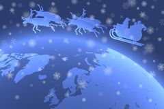 Father Christmas riding his sleigh over Planet Earth with falling snowflakes in the foreground.  stock illustration