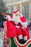 Father Christmas or Santa Claus waving. Father christmas or Santa Claus, sitting in his sleigh and waving. Taken at the annual Victorian Christmas fair, Bedford Royalty Free Stock Photos