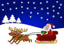Father Christmas on sleigh. Illustration of reindeer pulling Santa Claus on sleigh in wintry landscape under starry sky, Christmas scene Stock Images