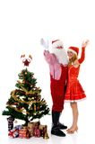 Father Christmas and woman stock photos