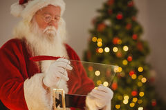 Father christmas writing list on the glass Royalty Free Stock Images