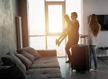 Father comes back to home from a travel. Father comes back to home from a business travel stock photos