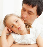 Father comforts a sad child Royalty Free Stock Image