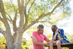 Father consoling his son at picnic in park. On a sunny day Royalty Free Stock Images