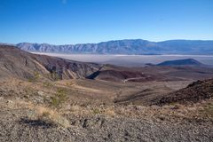 Highway 190 loops down into Death Valley National Park royalty free stock photography