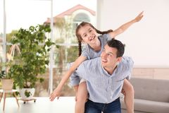 Father with cute child at home. Happy family royalty free stock photos