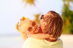 Father and cute little daughter at beach Stock Image