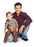 Father and  daughter. Isolated on whita background Royalty Free Stock Images