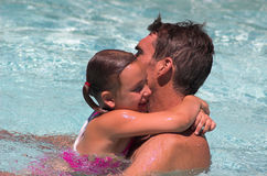 Father and Daughter. In Pool - Summer fun Stock Photos