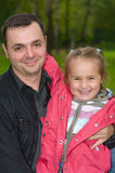 Father and daughter. Man and child together. Half-length portrait Royalty Free Stock Photos