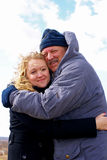 Father and daughter. Elderly father and adult daughter hugging outdoor Royalty Free Stock Images