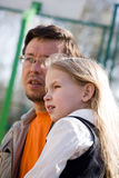 Father and daughter. Together portrait closeup Royalty Free Stock Photo