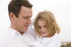 Father and Daughter. Portrait on the Beach royalty free stock photo