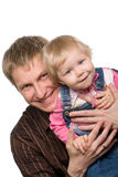 Father and daughter. Over white Stock Images