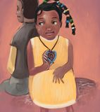 Father and daughter. Sitting together royalty free illustration