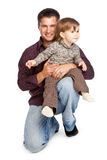Father and  daughter. Isolated on whita background Royalty Free Stock Photos