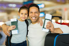 Father daughter airport Stock Photo