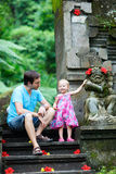 Father and daughter in Bali. Happy father and his adorable little daughter in Bali royalty free stock images