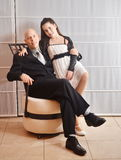 Father and Daughter: a Bat Mitzvah girl with her father Stock Photo