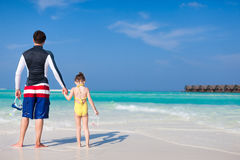 Father and daughter at beach Royalty Free Stock Image