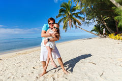 Father and daughter at beach Stock Photography