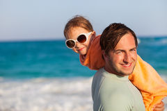 Father and daughter at beach Stock Photo