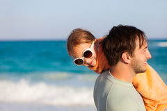 Father and daughter at beach Royalty Free Stock Photo