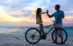 Father and daughter on a bike Royalty Free Stock Photography