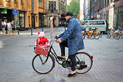 Father and daughter on bike. Stock Photography