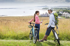Father and Daughter bike ride Royalty Free Stock Images