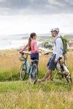 Father and Daughter bikeride Stock Photos