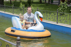 Father and daughter on boat Royalty Free Stock Photos