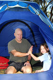 Father and Daughter Camping Stock Photos