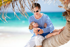 Father and daughter on Caribbean vacation Stock Image