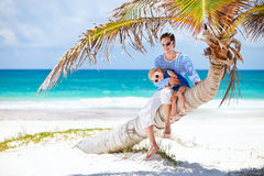 Father and daughter on Caribbean vacation Royalty Free Stock Image