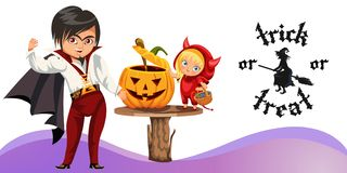 Father and daughter carving Hallows pumpkin poster. Cartoon dad in dracula costume and cute kid in red suit of devil making Halloween mystery gourd vector royalty free illustration