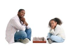 Father Daughter Chess Match Royalty Free Stock Photo