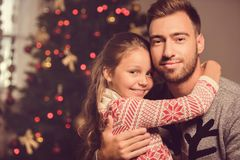 Father and daughter on christmas eve Royalty Free Stock Images