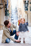 Father and daughter in city Stock Image
