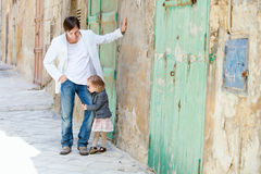 Father and daughter in city Stock Images