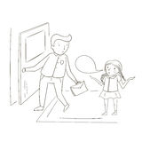 Father and daughter comic cartoon vector Stock Images