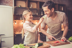 Father and daughter cooking Royalty Free Stock Photography