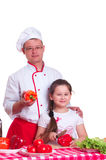 Father and daughter cooking together Royalty Free Stock Photography